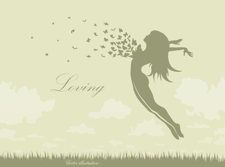 freedom woman: girgirl with butterflies in a jump up Illustration