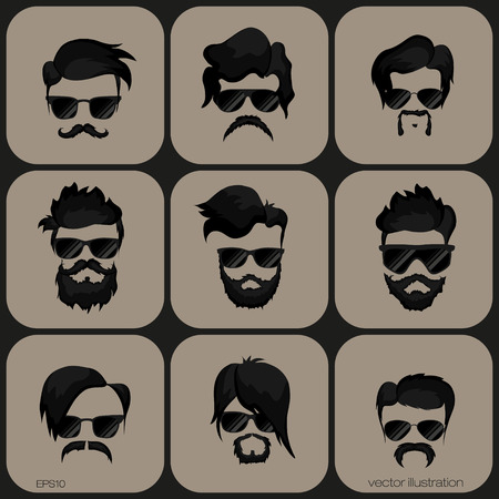 hairstyle: mustache, beard and hairstyle hipster on thea gainst a plain background