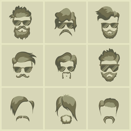 mustache, beard and hairstyle hipster on thea gainst a plain background Vector