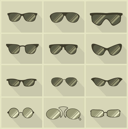 isolated: set of vector glasses in vintage style olive color background
