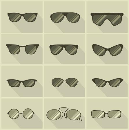 set of vector glasses in vintage style olive color background