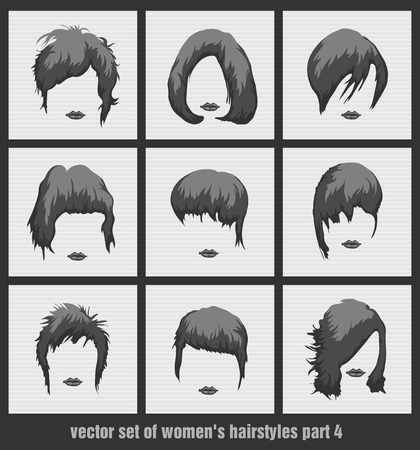 vector set of womens hairstyles on the white background Vector