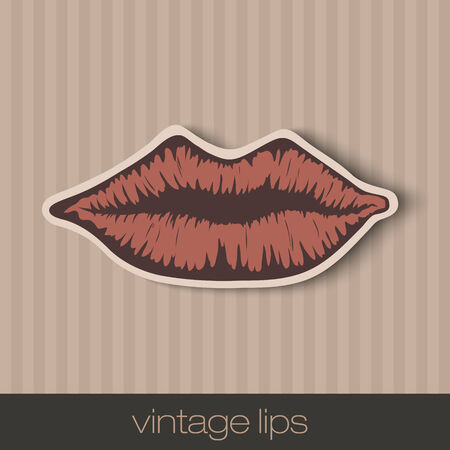 red lip: vintage paper lips, mouth red with shadow