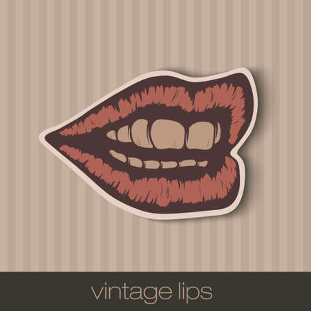 drawings image: vintage paper lips, mouth red with shadow