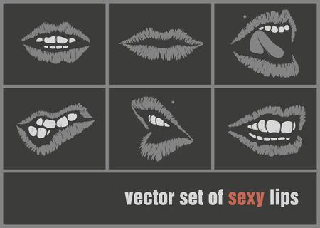 dark paper lips, mouth black vector illustration Illustration