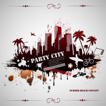 Summer beach concept downtown party city with palm tree Vector