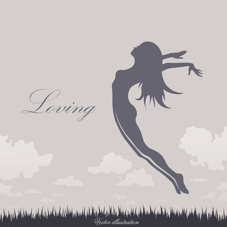jumping girl on the grass in blue Illustration