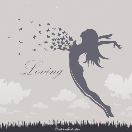 swarm: girl with butterflies in a jump up Illustration