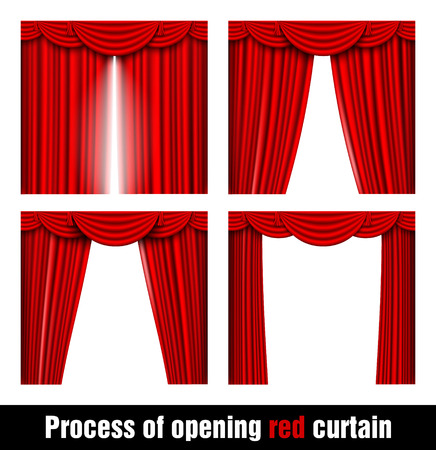 process of opening the red curtain of the four stages