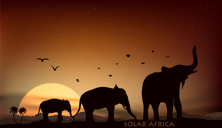 sunrise and sunset over the savannah with three elephants 向量圖像