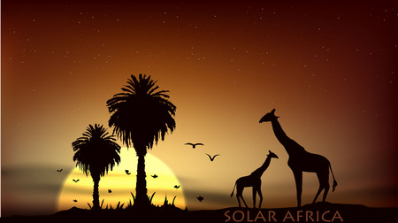 sunrise over the African savanna giraffe and palm trees Vector