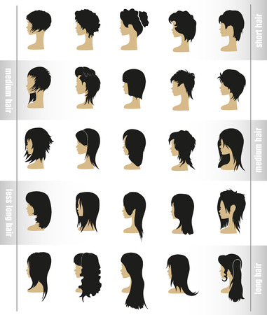 haircuts: vector set of womens hairstyles and haircuts view profile
