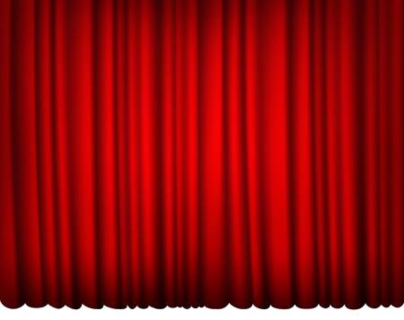 cortinas rojas: cortina de seda roja cubierta con luces y sombras Vectores