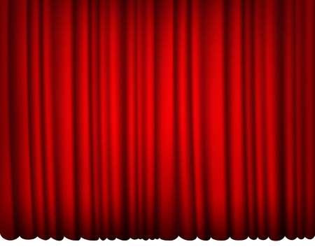 Intérieur rideau de soie rouge avec la lumière et l'ombre Banque d'images - 32778913