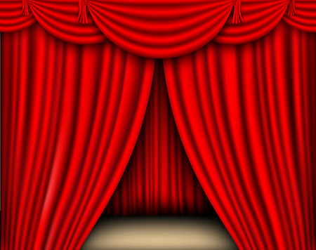 stage performance: red silk curtain open shadows and lights Illustration