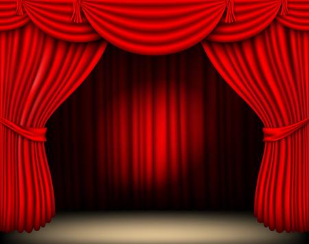cortinas: cortina de seda roja con la luz del reflector