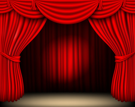 circus stage: red silk curtain with light from the searchlight