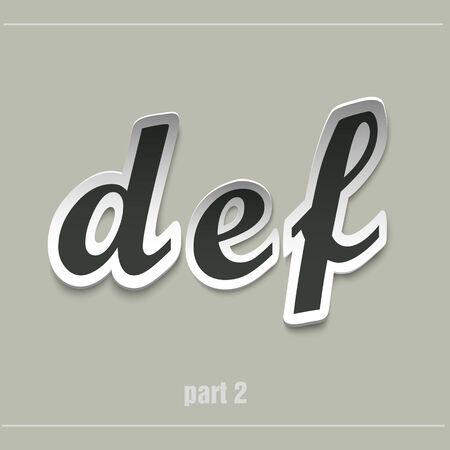 def: vector paper uppercase alphabet with shadows DEF