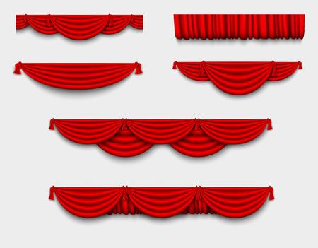 teatro: conjunto de seda roja cenefa y seda cortinas rojas