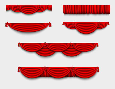 red silk set Pelmet and silk red curtains Çizim