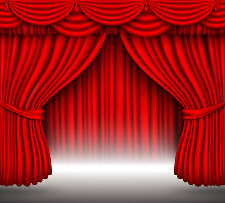 classical theater: red curtain of silk with light from under him