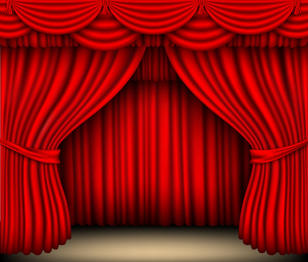 red curtain: red silk curtain with shadows and pelmet Illustration