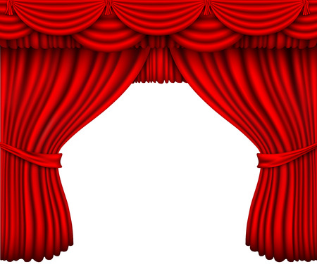 classical theater: red silk curtain with shadows on a white