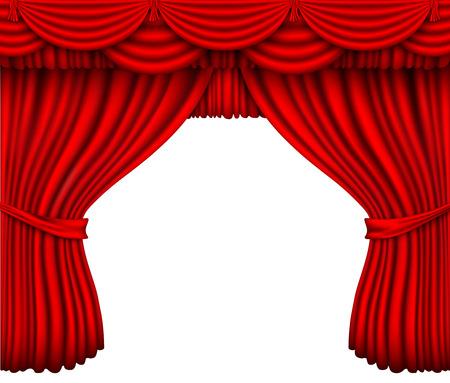 cortina de seda roja con sombras sobre un fondo blanco