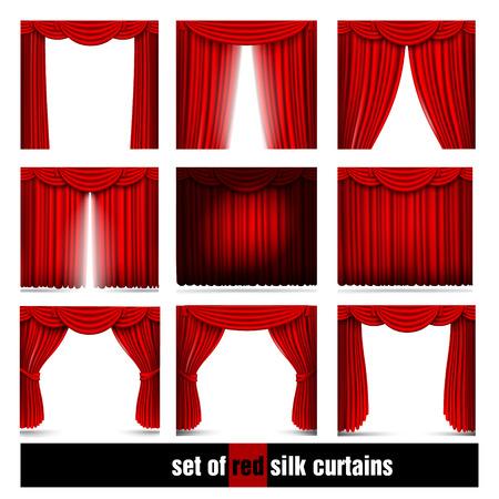 Ector set van rode zijde gordijnen met licht en schaduwen Stock Illustratie