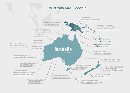 oceania: infographics continent Australia and Oceania blue and gray