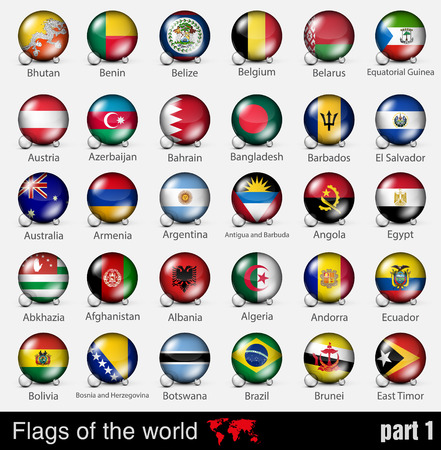 national flags: Flags of all countries in the 3d ball with shadows