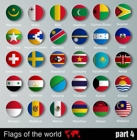 vector Flags of all countries  with shadows Vector