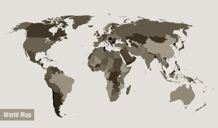 campestre: mapa vectorial del mundo dividido por país Vectores