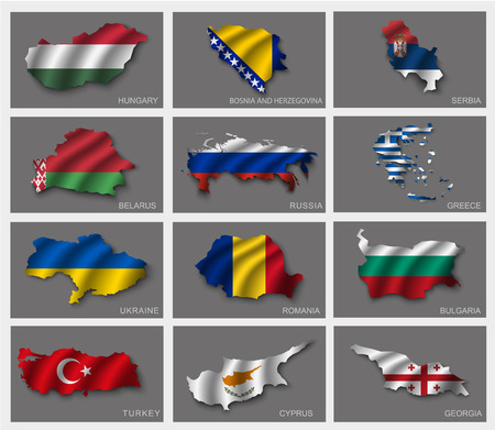 serbia: Flags in the form of states with shadows