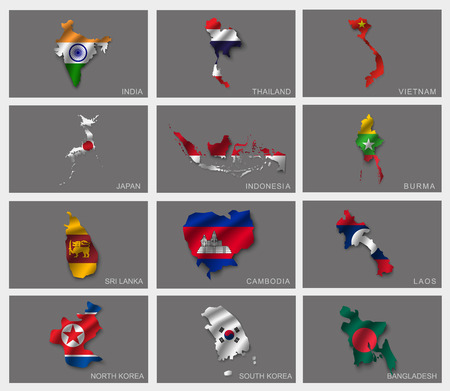 korea map: Flags in the form of states with shadows