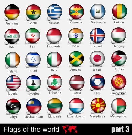 bandiera inglese: Bandiere di tutti i paesi della sfera 3d con le ombre