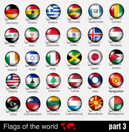 world flags: Flags of all countries in the 3d ball with shadows
