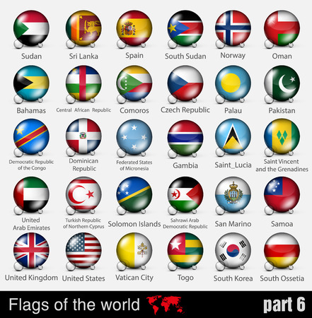 Flags of all countries in the 3d ball with shadows Vector