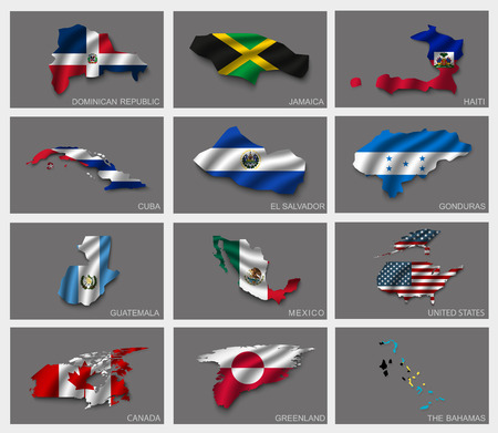 Flags in the form of states with shadows Vector