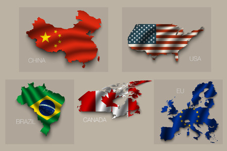 superpowers: Set of five great states, vector superpowers