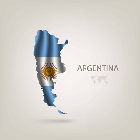 argentine: Flag of Argentina as a country with a shadow
