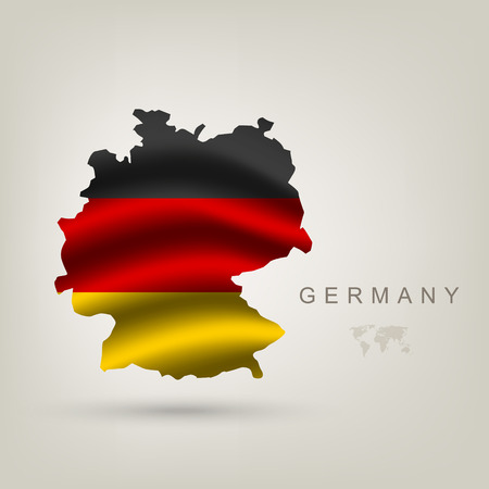 european map: flag of Germany as a country with a shadow