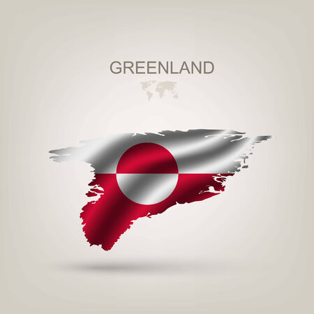 Flag of Greenland as a country with a shadow Vector