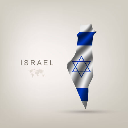 Flag of Israel as a country with a shadow Vector