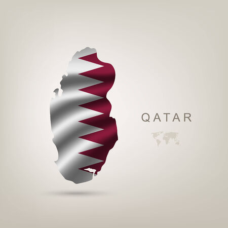 human geography: flag of Qatar as a country with a shadow