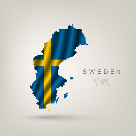 map sweden: Swedish flag as a country with a shadow