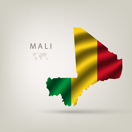 flag of Mali as the country with the shadow Vector
