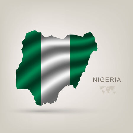 nigeria: flag of Nigeria as the country with the shadow