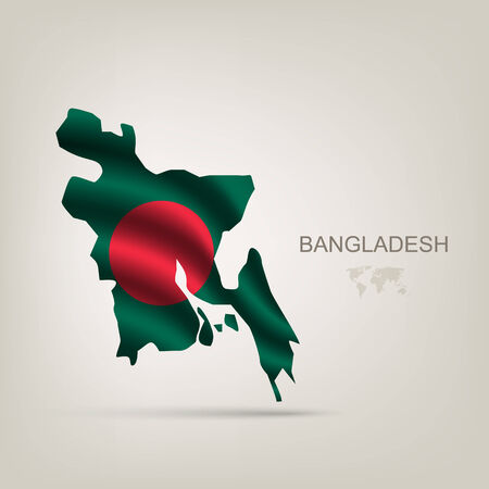 bangladesh 3d: Flag of Bangladesh as a country with a shadow