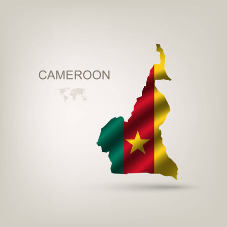 cameroon: Flag of Cameroon as a country with a shadow